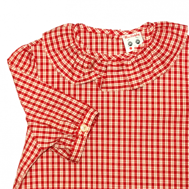 RUFLLED COLLAR – BUTTON BACK BLOUSE / REDの商品画像3