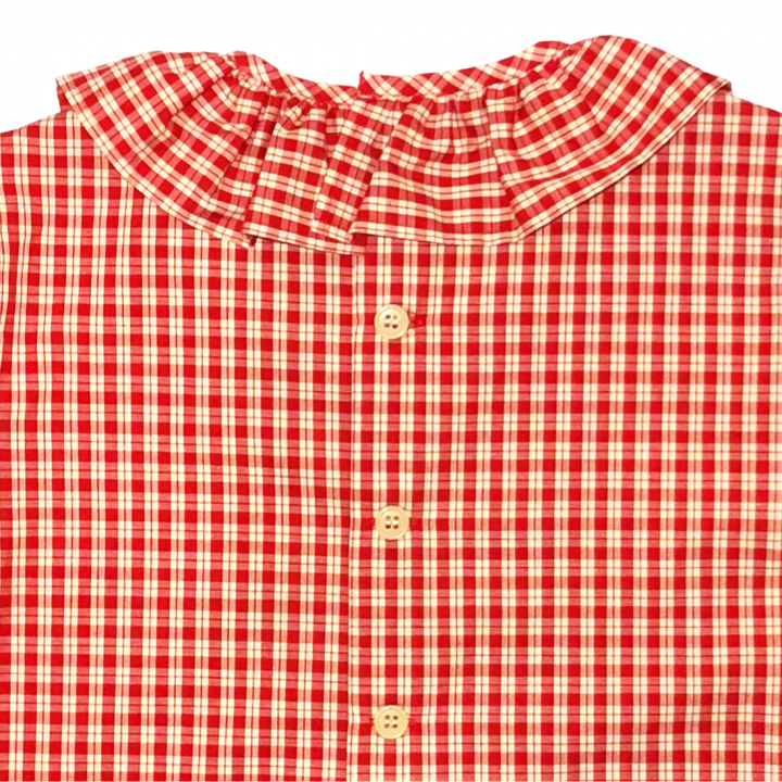 RUFLLED COLLAR – BUTTON BACK BLOUSE / REDの商品画像5