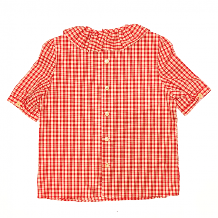 RUFLLED COLLAR – BUTTON BACK BLOUSE / REDの商品画像2