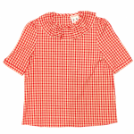 RUFLLED COLLAR – BUTTON BACK BLOUSE / REDの商品画像