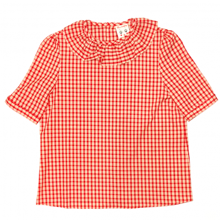 RUFLLED COLLAR – BUTTON BACK BLOUSE / REDの商品画像1