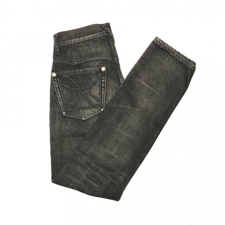 "THUG – DENIM SLIM ""IRONCROSS""/ BLACK × BLACK VINTAGE FINISHの商品画像5"