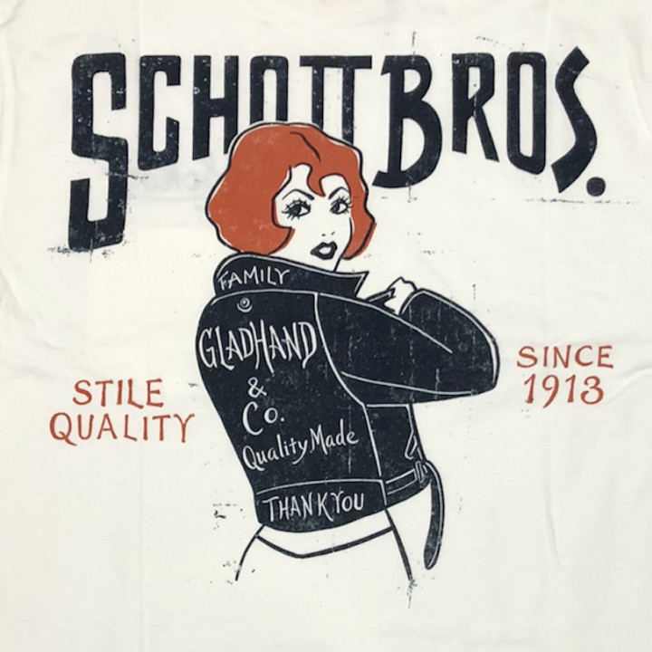 GLADHAND × SCHOTT / BEAUTY LOOKING BACK – S/S T-SHIRTS / WHITEの商品画像3