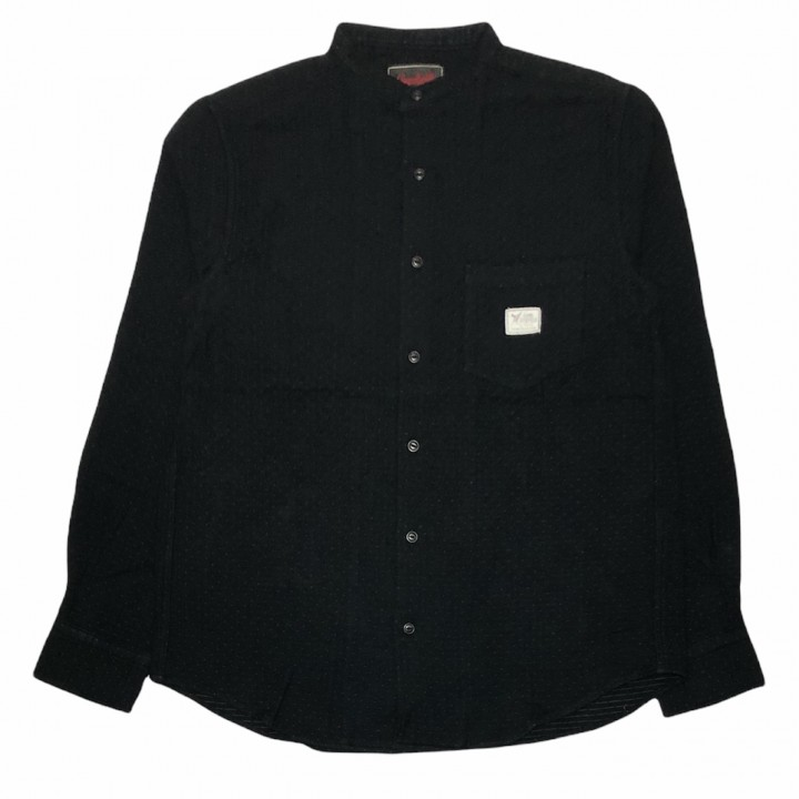 DEAL WITH THE DEVIL – L/S STAND COLLAR SHIRTS /BLACKの商品画像1